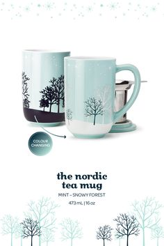 The Nordic Mug - Colour Changing Snowy Forest. When you add hot water to this serene wintery mug, the forest design changes to white. Tea Mugs, Coffee Mugs, Best Loose Leaf Tea, Davids Tea, Forest Design, Cafetiere, Oolong Tea, Tea Accessories, Things To Buy