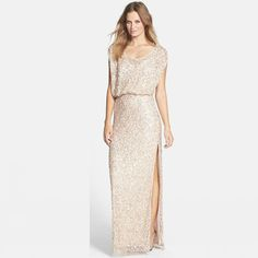 Sequins Rose Gold Long Bridesmaid Dresses Plus Size Split Scoop Champagne Sparkly Maid of Honor Bridal Wedding Party Gowns 2016 Custom Made