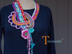 """+++RESERVE+++Collier textile crocheté main """" Boucle florale """" : Echarpe, foulard, cravate par tricotcolor"""
