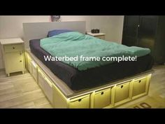 This is a DIY waterbed frame, hacked from IKEA KALLAX shelves. It was built to support a full-sized waterbed of approximately 400 kg. A hack by Christoph Boc.