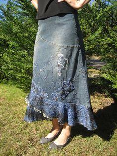 Embellished Blue Denim Skirt [3460] - $30.00 :: DCM Apparel - Modern Modest Clothing