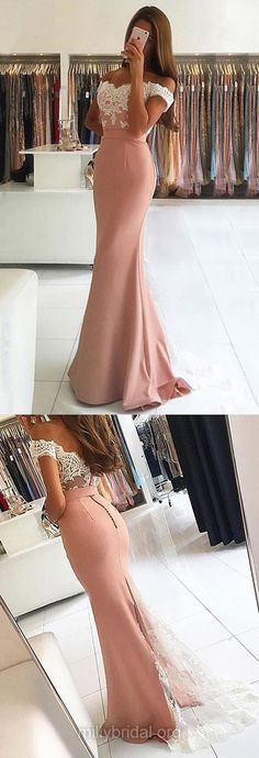 Latest Long Prom Dresses,Trumpet/Mermaid Evening Dresses,Off-the-shoulder Pink Formal Dresses,Tulle Silk-like Satin Sweep Train Appliques Lace Backless Party Dresses, Sexy Women Dress