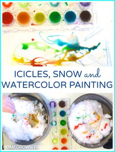 love this idea for exploring icicles, snow and watercolor painting from Lauren Karwoski Magee for Homegrown Friends Snow Activities, Outdoor Activities For Kids, Science For Kids, Art For Kids, Science Ideas, Kids Watercolor, Watercolor Paintings, Ice Play, Painting Snow