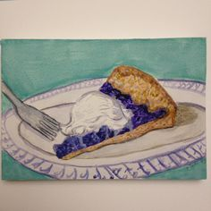 Made the blueberry galette from #bonappetit and highly recommend! #cookthecover #paintedthecover #summer #galette #blueberries #instaartist #illustration #watercolor #dailypainting #dessert #myrtilles #art #bonappetitmag #food #foodillustration