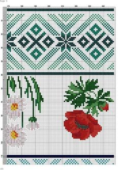 Cross Stitch Patterns, Folk, Projects To Try, Kids Rugs, Poppies, Cross Stitch Embroidery, Border Tiles, Dressmaking, Flowers