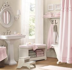 I love this bathroom. So chic and feminine. So glad I have a pink shabby chic home. Home, Girls Bathroom, Gray Shower Curtains, Shabby Chic Bathroom, Girl Bathrooms, Girl Bathroom Decor, Ruffle Shower Curtains, Pink Bathroom, Bathroom Decor