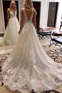 Fashion V-back Boho Lace Wedding Dress.The professional tailors from wedding dress manufacturer custom this v-neck lace bohemian wedding dress with any sizes and many other colors.Contact us to custom wedding dress,custom bridesmaid dress,custom pageant d Wedding Dress Mermaid Lace, Beach Bridal Dresses, Ivory Lace Wedding Dress, V Neck Wedding Dress, Elegant Wedding Dress, Best Wedding Dresses, Backless Wedding, Wedding Dress Sparkle, Wedding White