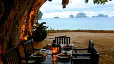 THAILAND BEACHES - KRABI Cave Dining is a cave which is very beautiful because it has amazing views of the coast. This cave is located at the bottom of the cliffs of the ancient limestone on the beach in Krabi, Thailand Restaurant On The Beach, Cafe Restaurant, Thailand Tourism, Krabi Thailand, Most Romantic, Asia Travel, Photo Book, Places To See, Around The Worlds