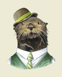 Sea Otter print 8x10 by berkleyillustration on Etsy, $18.00