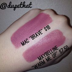 Here's a side by side comparison of MAC's Brave and Maybelline's Warm Me Up! We took this photo inside with flash (it got too dark too fast today to take a photo in natural light!). Warm me up is a similar gorgeous neutral pink for about half of the cost. The only downside of this dupe is Maybelline's signature scent which we don't really care for, but it isn't too overwhelming or even  noticeable after a while. We love these colors!