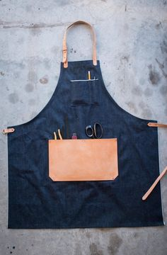 Leather and denim apron MXS