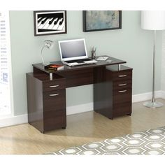 Lend professionalism to your office or home workspace with this Inval executive desk. Constructed from melamine and engineered wood, the desk offers both durabi Home Office Desks, Home Office Furniture, Furniture Design, Loft Office, Pipe Furniture, Furniture Outlet, Online Furniture, Modern Furniture, Executive Fashion