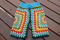 Lunar Pants - Crochet funky Lunaress original toddler baby pants. Gypsy, hippy, boho fashion. Granny square pants.