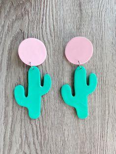 Polymer Clay Cactus Earrings, Cactus Earrings Clay, Festival Earrings, Summer Earrings, Clay, Dangle Earrings, Statement earrings, cactus Polymer Clay Owl, Polymer Clay Jewelry, Resin Jewelry, Diy Clay Earrings, Cactus Earrings, Statement Earrings, Dangle Earrings, Diy Crafts Jewelry, Diy Jewellery