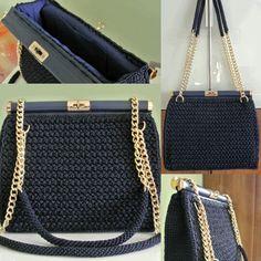 3-Crochet bag in cordino thai italiano blu notte, catena e chiusura a girello dorate, fodera con doppia tasca, in cotone blu