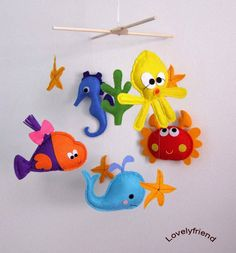 Baby Crib Mobile - Baby Mobile - Felt Mobile - Nursery mobile - Aqua whale (Custom Color Available). $78.00, via Etsy.