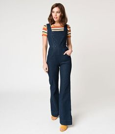 187dde6cbd09 Voodoo Vixen Dark Blue Denim Everly Overall Jumpsuit