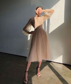 Mode Outfits, Dress Outfits, Casual Dresses, Fashion Dresses, Dress Up, Silk Dress, Modesty Fashion, Tulle Dress, Women's Casual