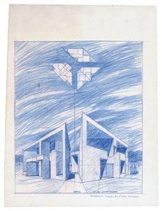 """Roberto Mariotti (G.R.A.U.)  """"Casa Longobardi"""", in località Tirrenella, Lido dei Pini (Rm), (con Giuseppe Milani), 1966-1970 Pastelli su carta da lucido, 38,5x29,5 cm. #sketch"""