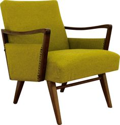 Exclusive Easychair with a mustard yellow cover. Fine organic wooden armrests from dark lacquered wood. Genuine upholstery and cover. The upholstery is well. 1950s Design, Mustard Yellow, Accent Chairs, Upholstery, New Homes, Organic, Dark, Wood, Cover