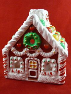 Vintage Avon Gingerbread House Christmas Votive Candle Holder Ceramic #Avon