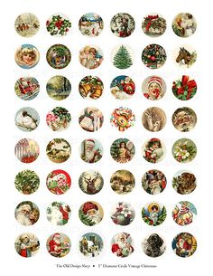 Vintage Christmas Bottle Caps 1 Inch Circles by TheOldDesignShop