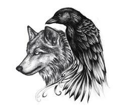 celtic raven and wolf tattoo - Google Search