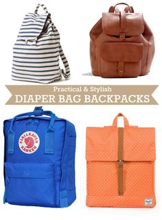 Coincidentally just purchased the orange one at the bottom! -- Diaper Bag Backpack Ideas.