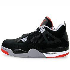 Mens Nike Air Jordan Retro 4 Basketball Shoes Black / Cement Grey / Fire  Red 308497