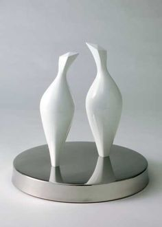 Cast aluminum / stainless steel Stylized Animals sculpture by artist Sam Umaria titled: 'Doves (Abstract Pair Billing and Cooing Sculptures)' £7000 #sculpture #art