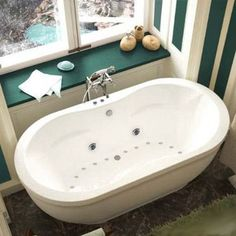 Atlantis Tubs Aquatic 34 x 71 x 21 - Inch Freestanding Air & Whirlpool Water Jetted Bathtub - from BEYOND Stores
