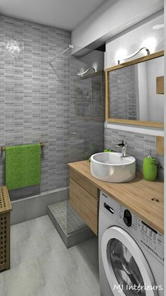 The bathroom is optimized and modernized: bathroom style by mj interiors, modern - Ceramic Tile Bathrooms, Zen Bathroom, Bathroom Plans, Bathroom Design Small, Laundry In Bathroom, Bathroom Layout, Bathroom Interior Design, Bathroom Ideas, Bathroom Designs