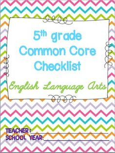 5th grade common core standards checklist for ELA!