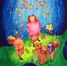 Falling Stars enjoy Unearthy Blue  acrylic painting by LilyMokus on Etsy