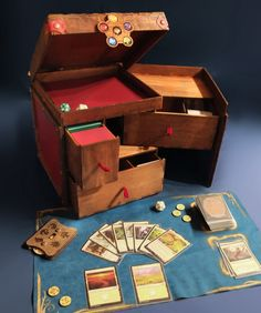 for magic mtg card Deck Of Cards, Card Deck, Small Bookshelf, Deck Box, Red Books, Wooden Decks, Small Drawers, Book Nooks, Made Of Wood
