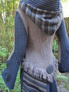 Recycled Sweater Coat 83  Slate Beige Brown by ipseity on Etsy, $630.00