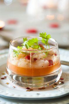 Tartaar van Sint-Jakobsschelp, granaatappel en pompelmoes recept