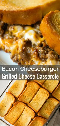 Bacon Cheeseburger Grilled Cheese Casserole is an easy dinner recipe the whole f. Bacon Cheeseburger Grilled Cheese Casserole is an easy dinner recipe the whole family will love. This delicious cass Ground Beef Recipes For Dinner, Dinner With Ground Beef, Easy Dinner Recipes, Easy Meals, Hamburger Recipes For Dinner, Ground Beef Recipes Simple, Bacon Recipes Main Dish, Recepies With Ground Beef, Recipes With Bacon And Cheese