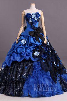 細やかな A-ライン ビスチェ ナチュラル コートトレーン タフタ ローヤル ブルー スリーブレース シャーリング編み上げ式 ウエディングドレス フラワー ちょう結び Pclbvj0149