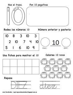 Números hasta el 10 - modificado Pre K Activities, Preschool Learning Activities, Kids Learning, Teaching Resources, Preschool Themes, Math Literacy, Kindergarten Math, Math 4 Kids, Singapore Math