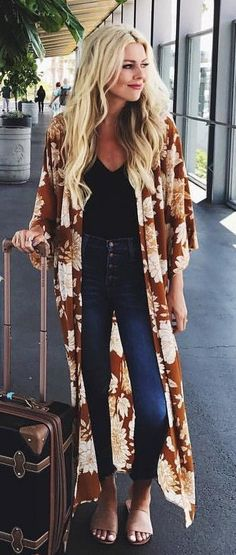 #fall #outfits  Brown Printed Maxi Cardigan + Black Top + Navy Skinny Jeans