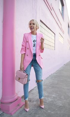 The best of pink fashion - Pink - The best of pink fashion – Pink Informations About Le meilleur de la mode rose – Rose Pin You ca - Pink Blazer Outfits, Jean Outfits, Pink Blazers, Casual Blazer, Blazer And Jeans Outfit Women, Pink Shoes Outfit, Blazer Dress, Pink Top Outfit, Dress Outfits
