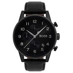 Hugo Boss Men's Navigator Chronograph Watch with Leather Strap, Black Hugo Boss Homme, Hugo Boss Man, Bulova, Hugo Boss Watches, Men's Watches, Watches Online, Nice Watches, Cheap Watches, Montres Hugo Boss