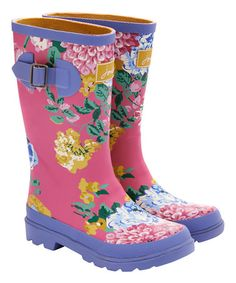 Look what I found on #zulily! Hot Pink Floral JNR Welly Rain Boot - Kids #zulilyfinds