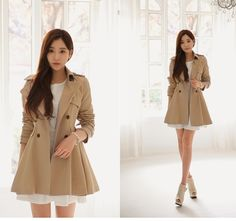 korean fashion - white dress and brown trench coat