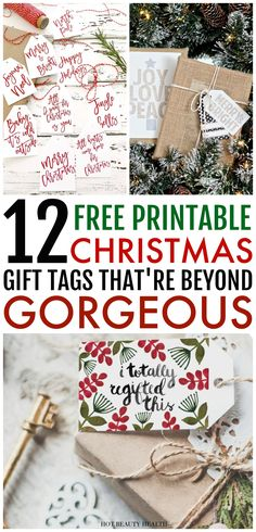 These 12 gorgeous free printable Christmas gift tags will wow your gift recipients this holiday season. From colorful to minimal to glam, you can just download, print and use these handmade gift tags on all your Christmas presents this year!