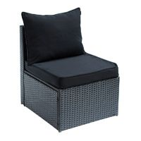 New Miami PE Wicker Indoor Outdoor Furniture Middle Lounge Chair Sofa - Black, $110