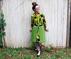Mitte Jahrhundert moderne Umb Kleid grün Muster von ThriftShark