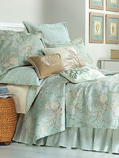 Bedroom colors (By the Sea Coverlet, Shams and Pillows Beach Bedding, Coastal Bedding, Coastal Bedrooms, Beach Bedrooms, Beach Cottage Decor, Coastal Decor, Coastal Living, Coastal Cottage, Coastal Style
