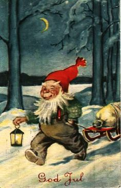 Julekort Thor Wiborg nisse med kjelke og lykt Utg Damm 1940-tallet Father Christmas, Christmas Cards, Christmas Postcards, Legends And Myths, Elves And Fairies, Legendary Creature, Scandinavian Christmas, Leprechaun, Goblin